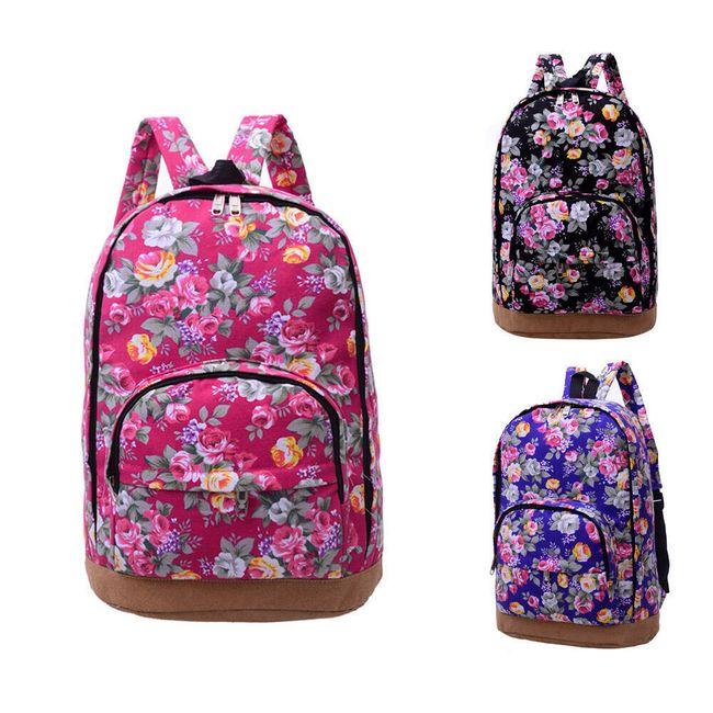 Módní plátěný batoh s pestrým květinovým potiskem 1