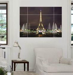 3D samolepka na zeď - Rozsvícená Eiffelova věž