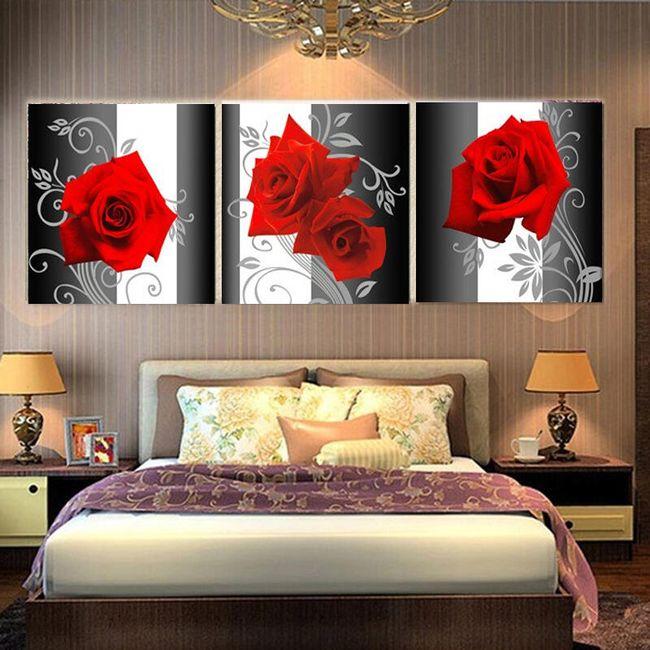 Obraz s růžemi - 3 díly 1