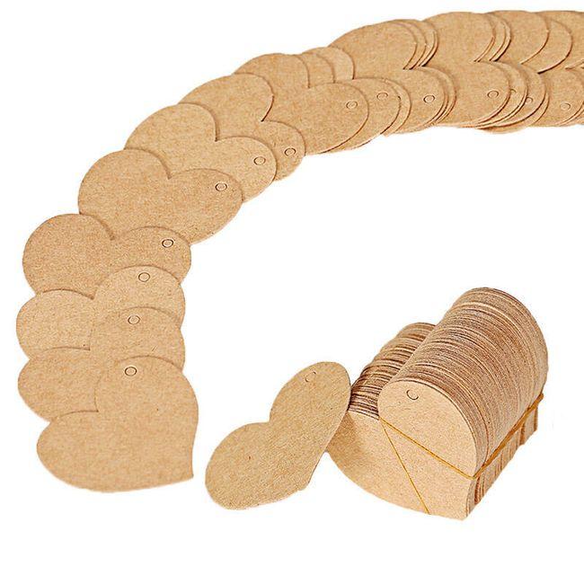 100 kusů visaček na dárky ve tvaru srdce 1