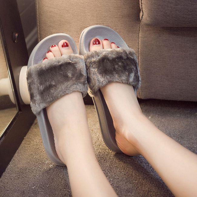 Dámské pantofle s umělou kožešinou - 4 varianty 1