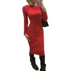 Dámské pletené šaty s knoflíčky - více barev