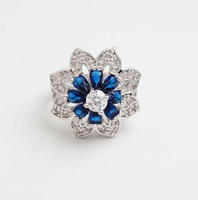 Prsten s květinou a kamínky - 4 velikosti 1