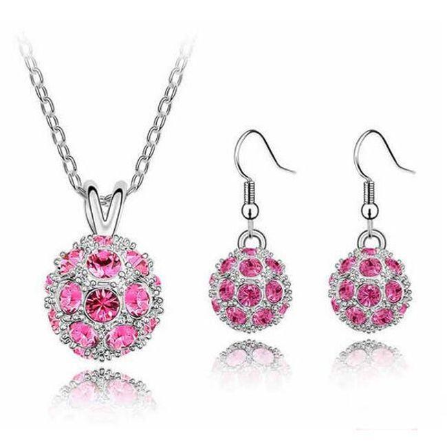 Set elegantních šperků - náušnice a náhrdelník, 6 barev 1