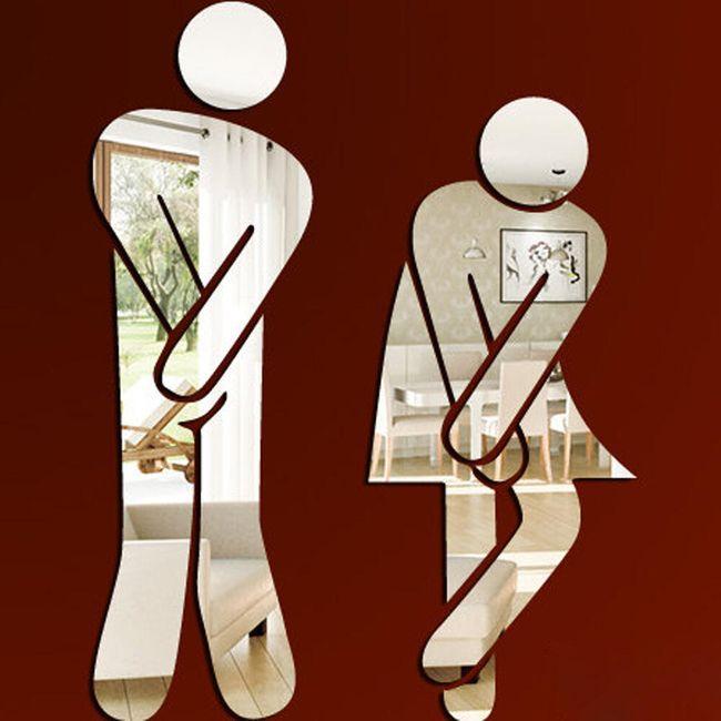 Zrcadlová nálepka na WC a koupelnu - 6 variant 1