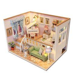 Vybavený domeček pro panenky - pokoj s osvětlením