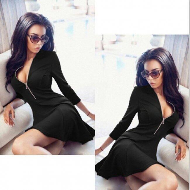 Dámské mini šaty se zipem ve výstřihu - Černá-velikost č. 3 1