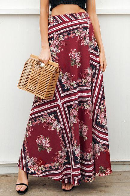 Geometrická sukně s květinami 1