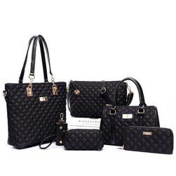 Velká sada dámských kabelek - 6 dílů - černá barva