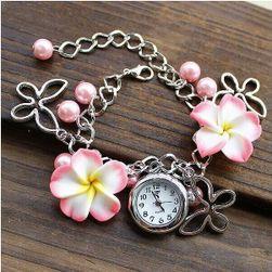 Náramek s hodinkami zdobený kytičkami - 5 barev
