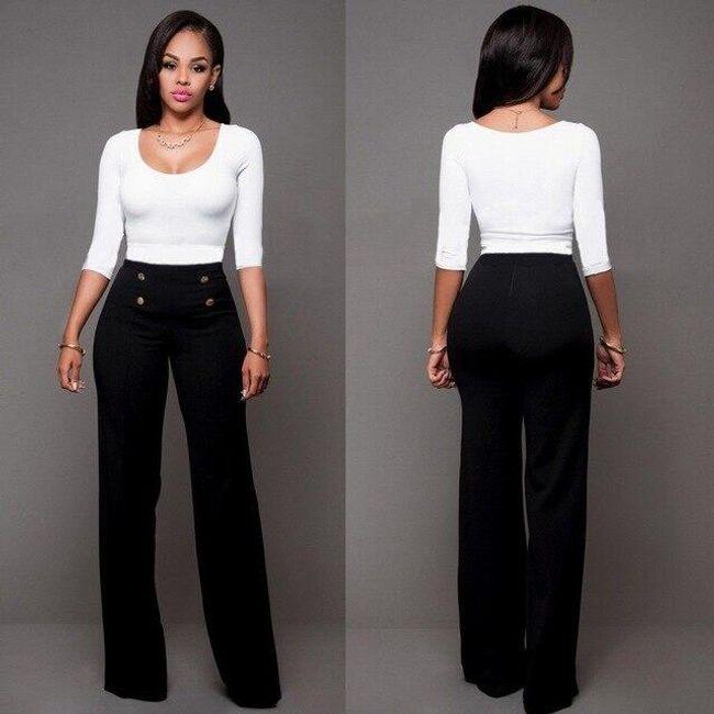 Elegantní dámské kalhoty s vysokým pasem - Černá-velikost č. 6 1