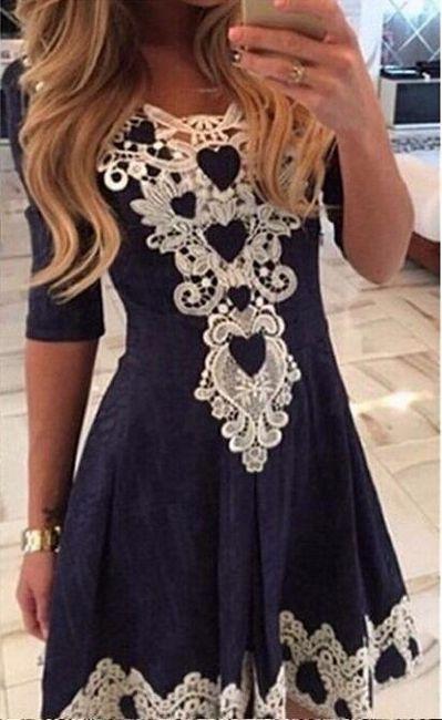 Romantické modré šaty s krajkou - 5 velikostí  1