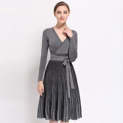 Pletené šaty áčkového střihu - 5 barev