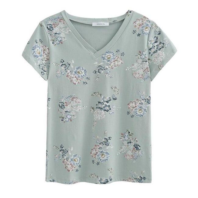 Tričko pro dámy s motivem květin - 2 barvy 1
