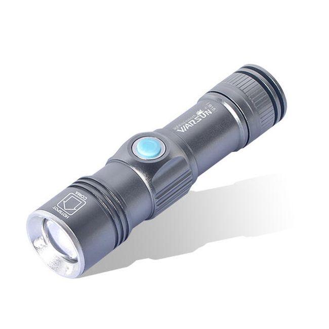 LED svítilna se 3 režimy v šedé barvě 1