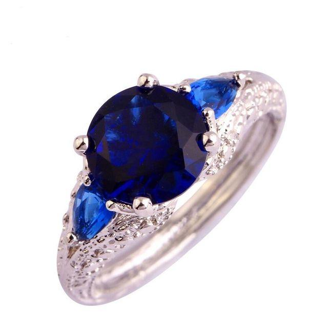 Dámský prsten s modrým kamínkem - stříbrná barva 1