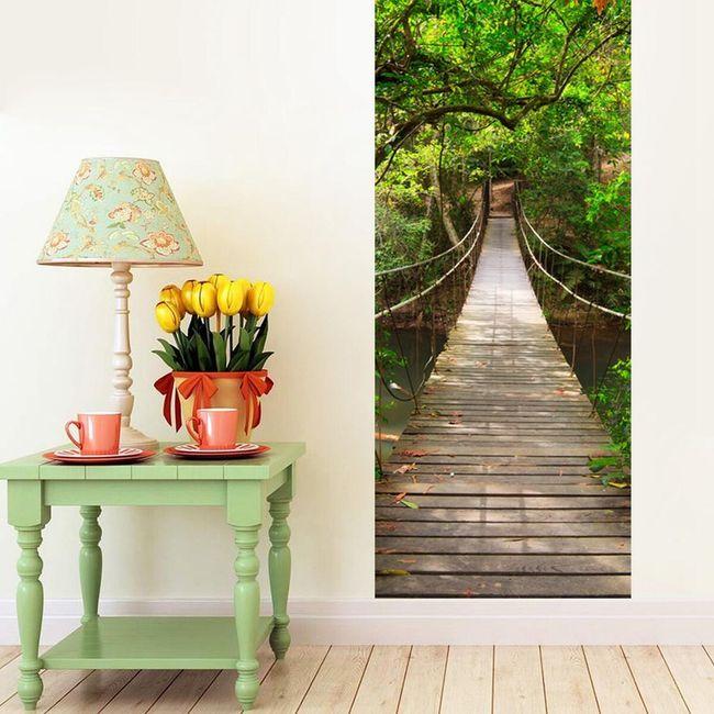 Samolepka na zeď - dřevěný most 1