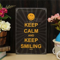 Plechová cedule KEEP CALM AND KEEP SMILING