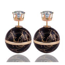 Oboustranné kuličkové náušnice zdobené kamínkem - 10 barev