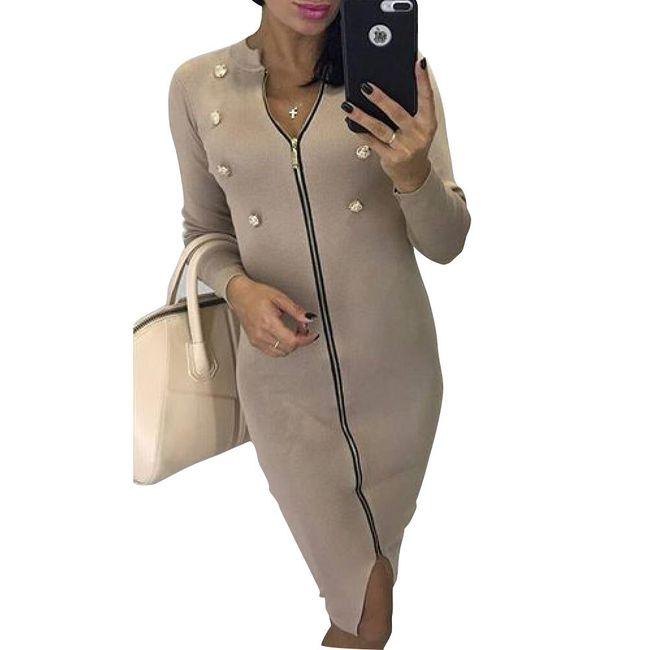 Šaty s knoflíky a dlouhým zipem 1