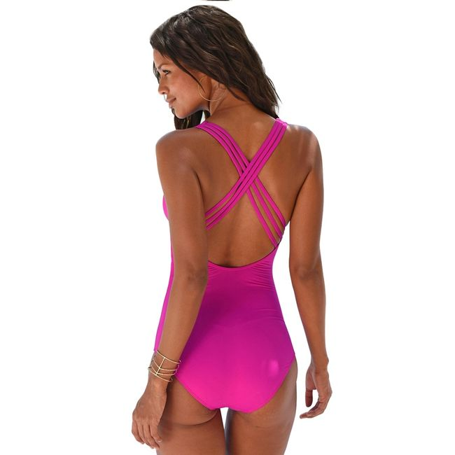 Jednodílné plavky s křížením na zádech - 3 barvy 1