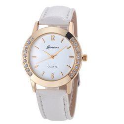 Dámské hodinky s decentním zdobením na krajích - bílá