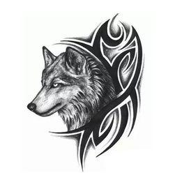 Dočasné tetování - vlčí hlava