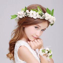 Květinový věnec do vlasů s náramkem - 2 varianty