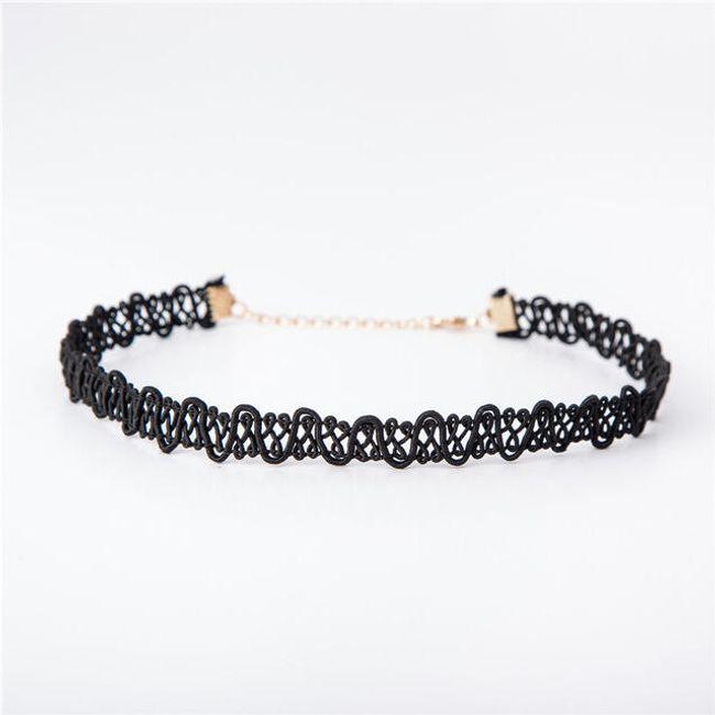 Choker náhrdelník v černé barvě - 6 variant 1