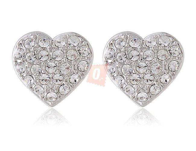 Elegantní srdíčkové náušnice s kamínky - stříbrná barva 1