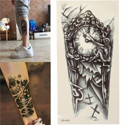 Dočasné tetování - retro hodiny