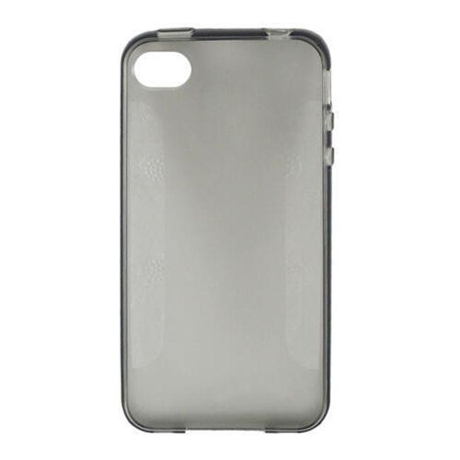 Průhledné ochranné pouzdro pro iPhone 4 a 4S - šedé polomatné 1