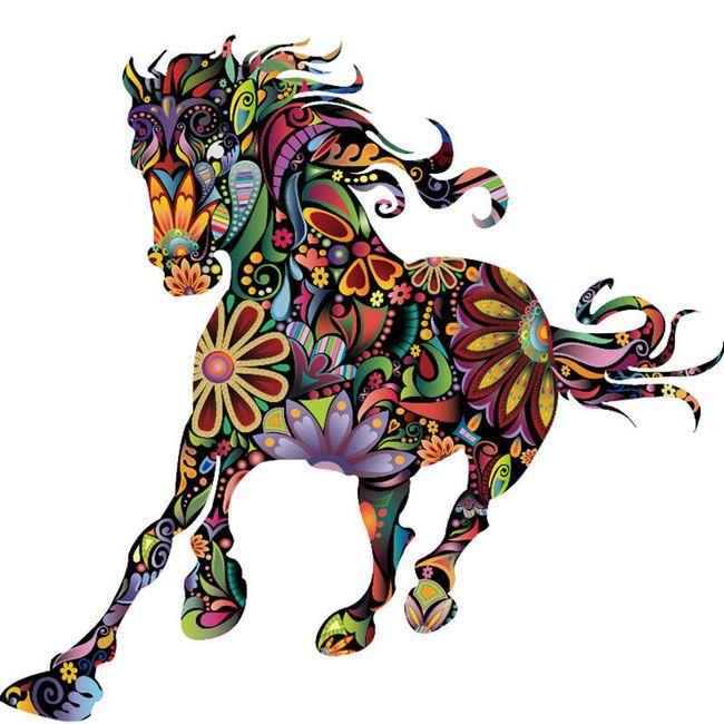 Samolepka - barevná kůň 1