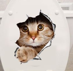 3D samolepka s vykukující kočičkou