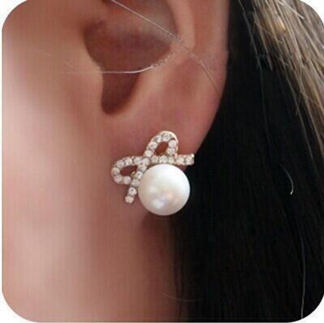 Elegantní náušnice s falešnou perličkou  1