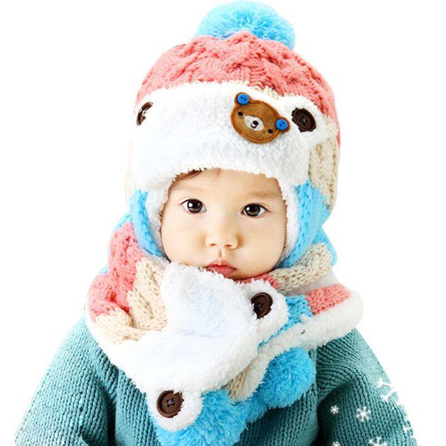 Dětská zimní čepice a šála - 4 barvy 1