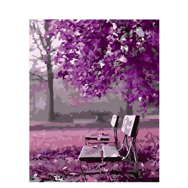 DIY obraz k vybarvení - lavičky pod stromy 1