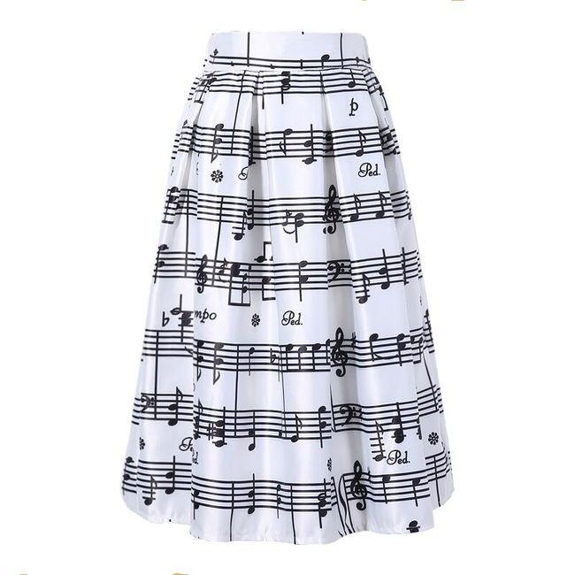 Dámská midi sukně s potiskem not 1