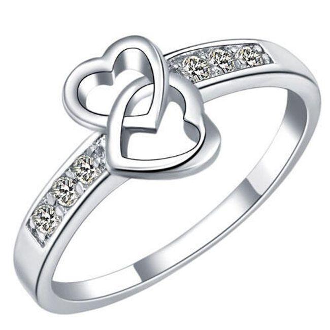 Dámský prsten s dvojitým srdíčkem - třpytivé kamínky 1