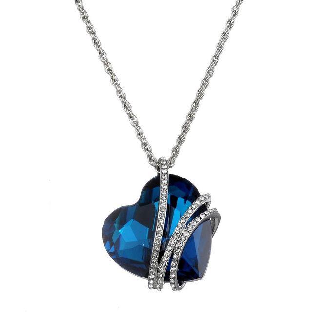 Romantický náhrdelník - modré srdce 1