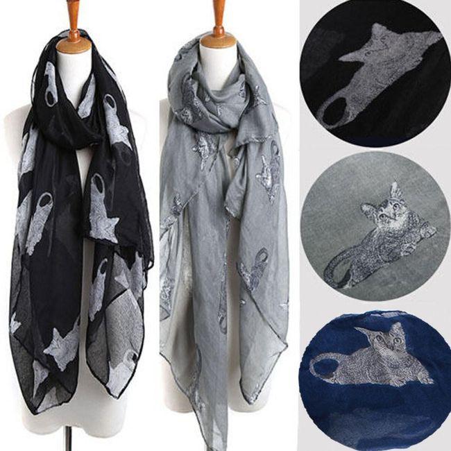 Dámský šátek s motivy koček 1
