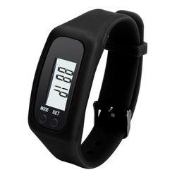 Silikonové hodinky s krokoměrem - černé