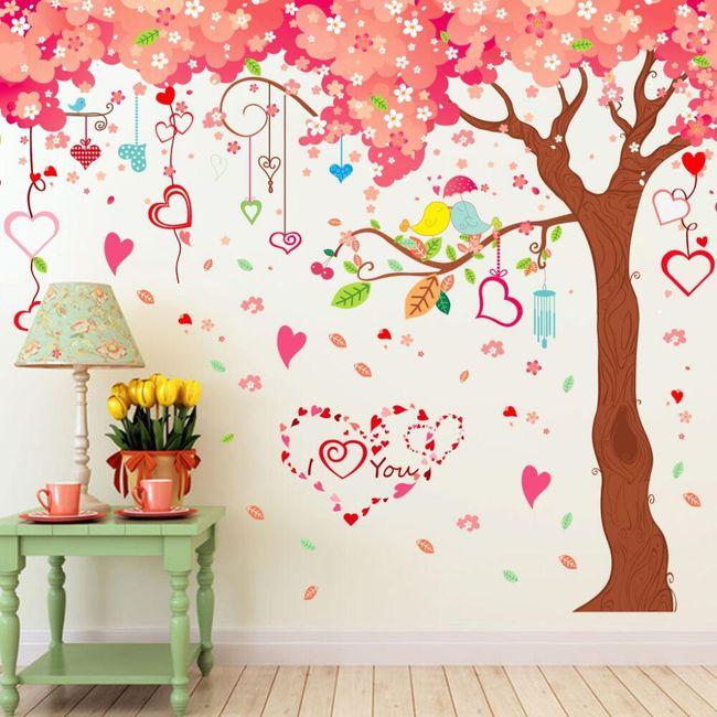 Samolepka s rozkvetlým stromem a srdíčky 1